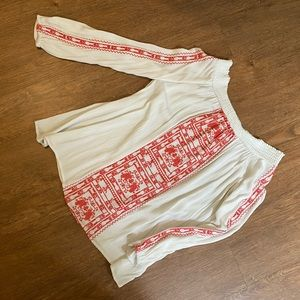 Embroidered OTS peasant top